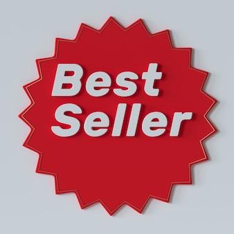 Bestseller rode label 3d illustratie