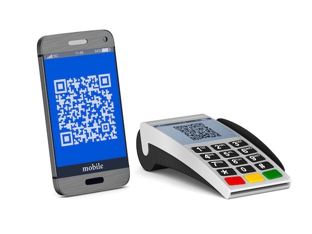 Betaalterminal en telefoon op wit. geïsoleerde 3d-afbeelding
