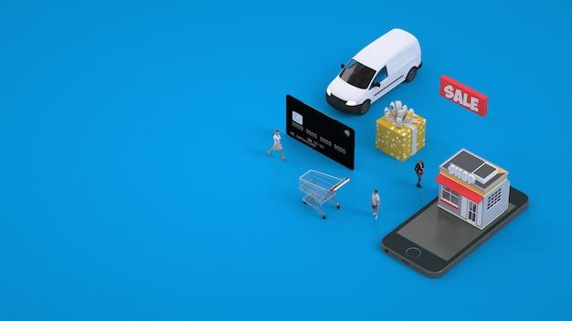Betaling met kaart voor online aankopen. online winkelen via smartphone. betaling per kaart. 3d-graphics