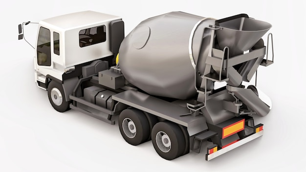 Betonmixer vrachtwagen met witte cabine en grijze mixer op witte achtergrond. driedimensionale afbeelding van bouwmachines. 3d-rendering.