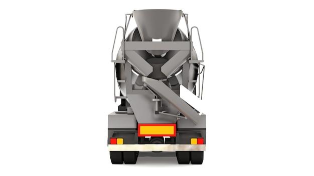 Betonmixer vrachtwagen met zwarte cabine en grijze mixer op witte achtergrond. driedimensionale afbeelding van bouwmachines. 3d-rendering.