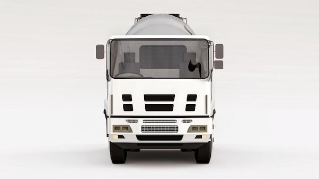 Betonmixervrachtwagen met witte cabine en grijze mixer op witte ruimte. driedimensionale illustratie van bouwmachines. 3d-weergave.