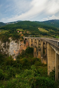 Betonnen boogbrug durdevitsa-tara over de tara diepe rivier canyon in montenegro.