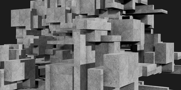 Betonnen kubus elementen veelhoek architectuur 3d-rendering