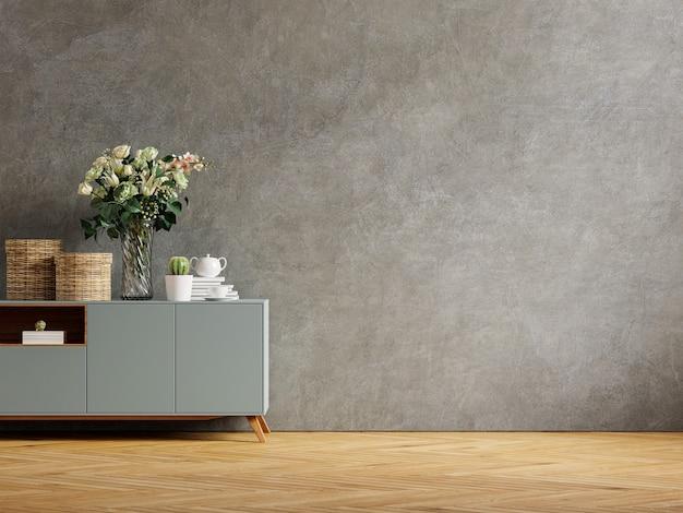 Betonnen muur met sierplanten en decoratie-item op kast, 3d-rendering