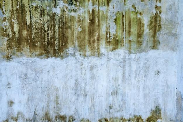 Betonnen muurtextuur met groene schimmelvlekken