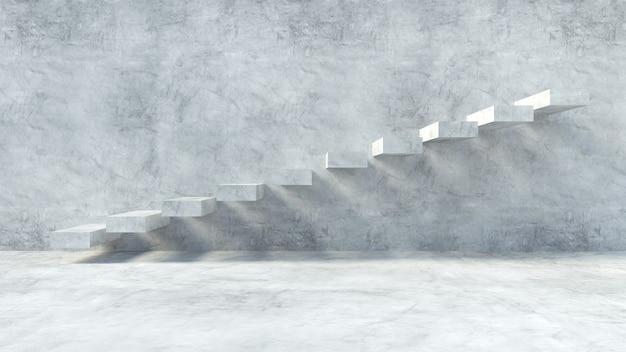 Betonnen trap op een muur van grunge