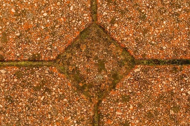 Betonpatroon met kiezelstenen en mos