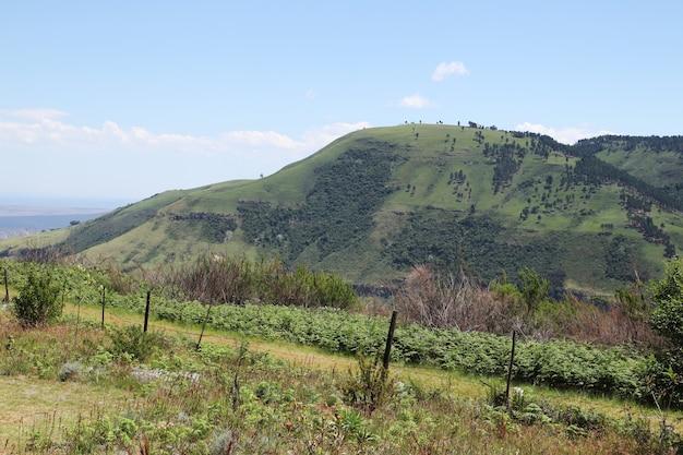 Betoverend landschap van heuvels die de lucht op het platteland raken