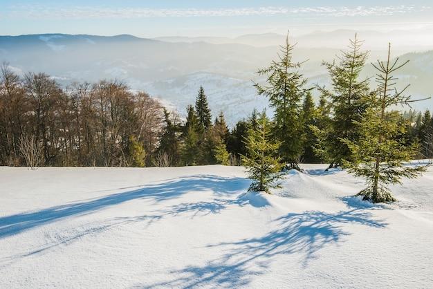 Betoverend uitzicht op de skipiste met een prachtig uitzicht op het besneeuwde heuvelachtige naaldbos en de zonnige bergketens op een heldere, ijzige dag