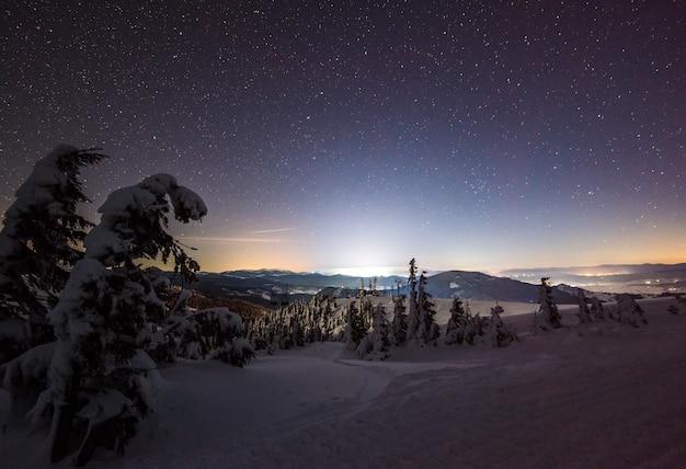 Betoverend winterlandschap met besneeuwde sparren, besneeuwde hellingen tegen een heldere sterrenhemel