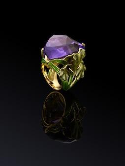 Betrokkenheid bruiloft luxe diamanten ring geïsoleerd op zwarte achtergrond met reflectie, opgenomen uitknippad. grote violette amethist, extreme dichte omhooggaand.