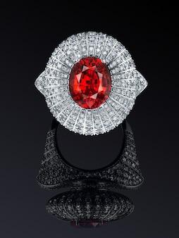 Betrokkenheid bruiloft luxe witgoud diamanten ring geïsoleerd op zwarte achtergrond met reflectie, opgenomen knippen weg. groot natuurlijk granaat, spessartiet. extreem dichtbij.