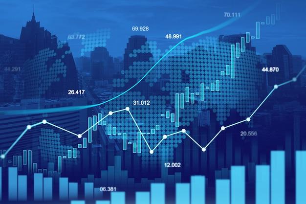 Beurs of forex trading grafiek in grafische dubbele belichting