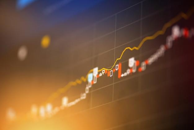 Beursgrafiek business / forex trading en kandelaar analyse investeringsindicator van financiële raad display geld prijs aandelen grafiek uitwisseling groei en crisis geld