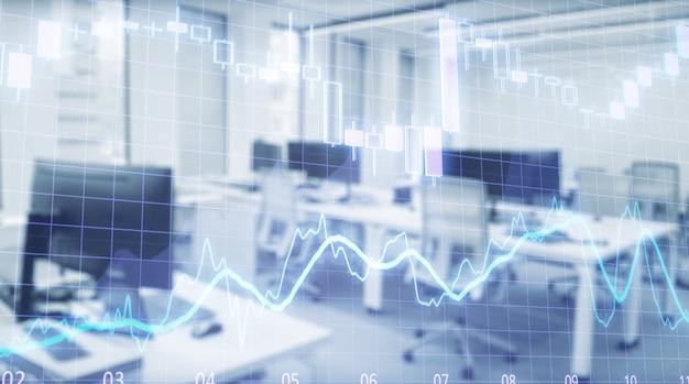 Beursgrafiek met trading desk bank kantoor interieur op de achtergrond. dubbele blootstelling.