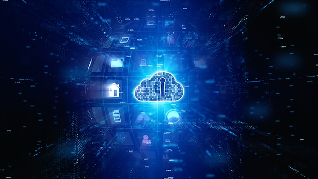 Beveiligd digitaal datanetwerk. cyberbeveiliging voor digitale cloud computing. technologie concept.