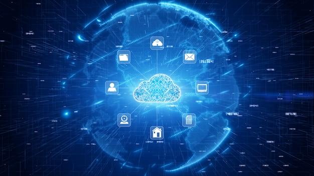 Beveiligd digitaal datanetwerk. het digitale wolk concept van de gegevensverwerkingscyber veiligheid