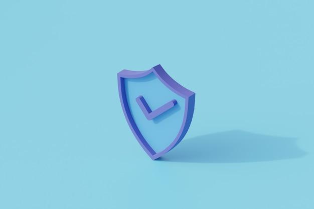 Beveiligd schild icoon enkel geïsoleerd object. 3d-weergave