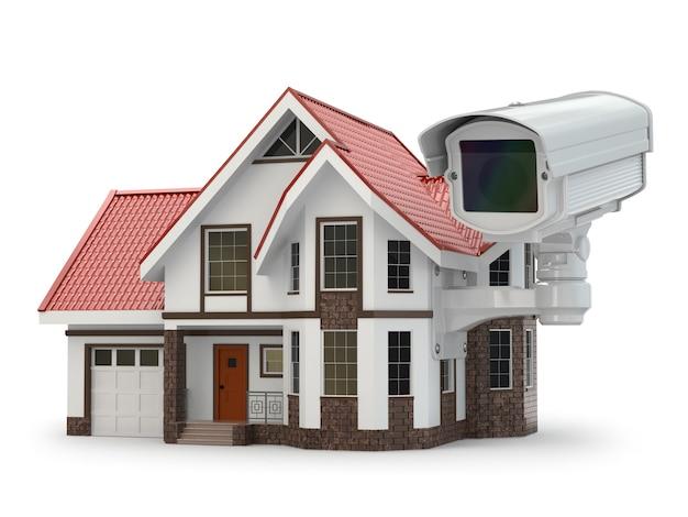 Beveiliging cctv-camera op het huis. 3d