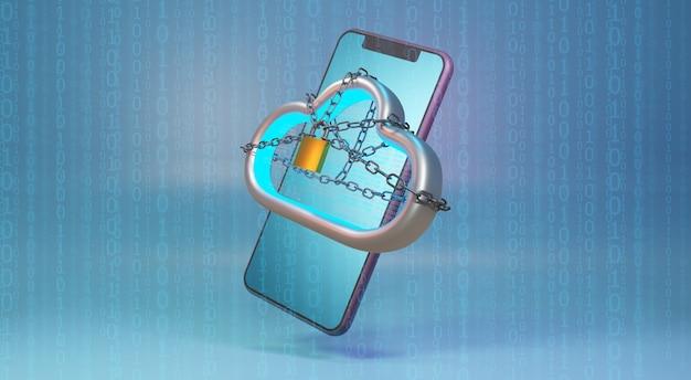 Beveiliging cloudtechnologie. concept van cloudbescherming en blockchain. 3d-weergave