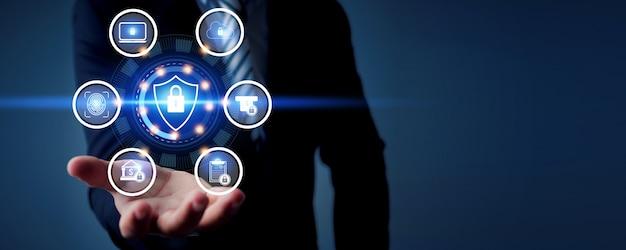 Beveiligingsgegevens cyber- en technologieconcept met icon