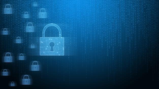 Beveiligingssysteemconcept hangslot vertegenwoordigt beveiliging tegen bedreigingen internetnetwerk met binaire code