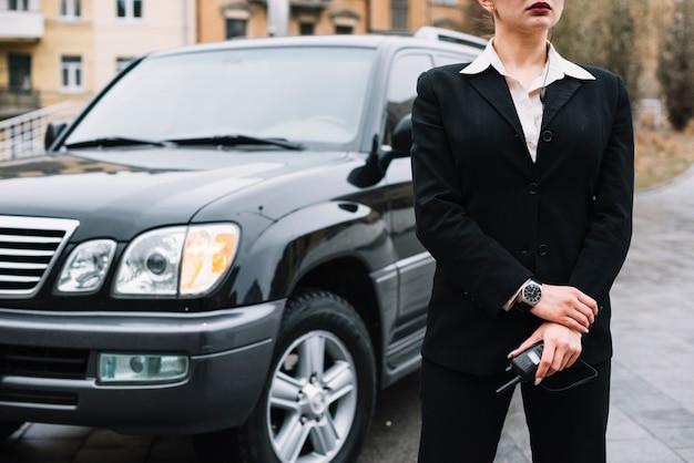 Beveiligingsvrouwtje dat veiligheidsdienst biedt