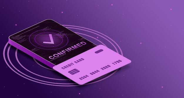 Bevestigde betaling op het telefoonscherm met creditcard, betalingsveiligheid 3d