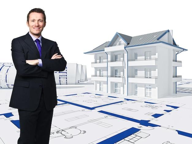 Bevindende zakenman en 3d huis