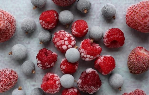 Bevroren bes van zwarte bes aardbei en rode framboos in witte frost