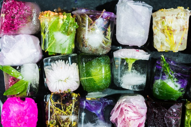 Bevroren bloemen in ijsblokjes