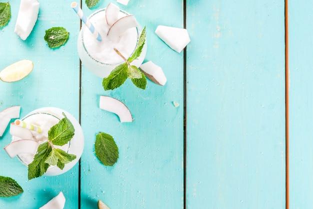Bevroren kokosmojito met limoen en munt