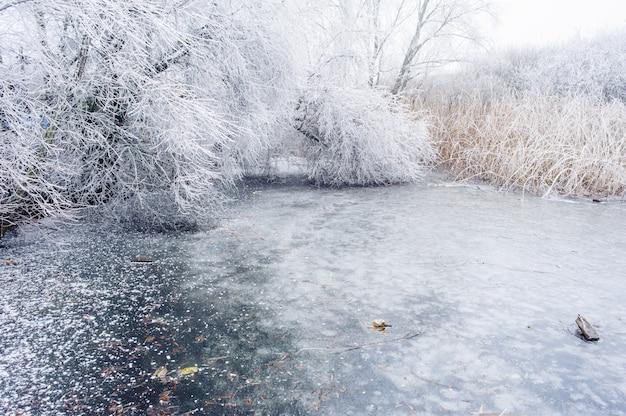 Bevroren leg meer in de winter vast