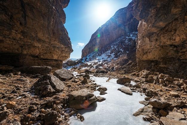 Bevroren rivier in een bergkloof