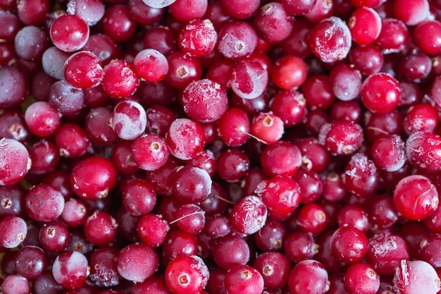 Bevroren veenbessen, close-up. vitaminen, gezonde voeding, dieet, vegetarisme
