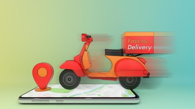 Bewegende scooter op mobiele telefoon met rode pinpoint