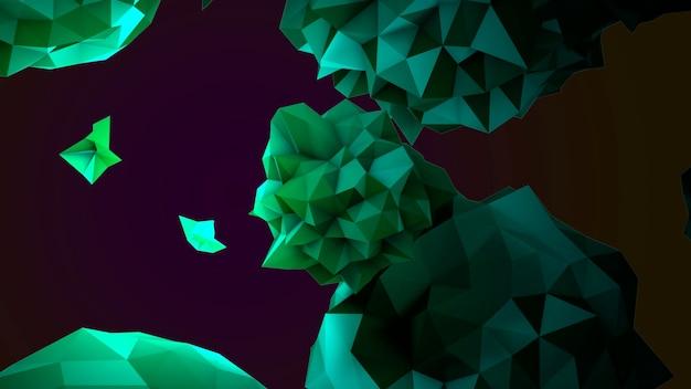 Beweging abstracte groene vloeibare orb in kosmos, zwarte achtergrond. elegante en luxe 3d-illustratiestijl voor moderne en kosmos-sjabloon