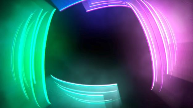 Beweging kleurrijke cirkels vertigo, abstracte achtergrond. elegante en luxe dynamische neonclubstijl, 3d-afbeelding