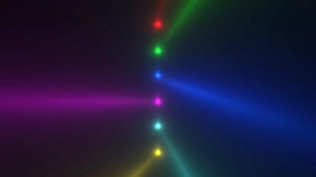 Beweging kleurrijke gloeiende spotlight balken op donkere achtergrond in het podium. elegante en luxe 3d-illustratiestijl voor club- en entertainmentsjabloon