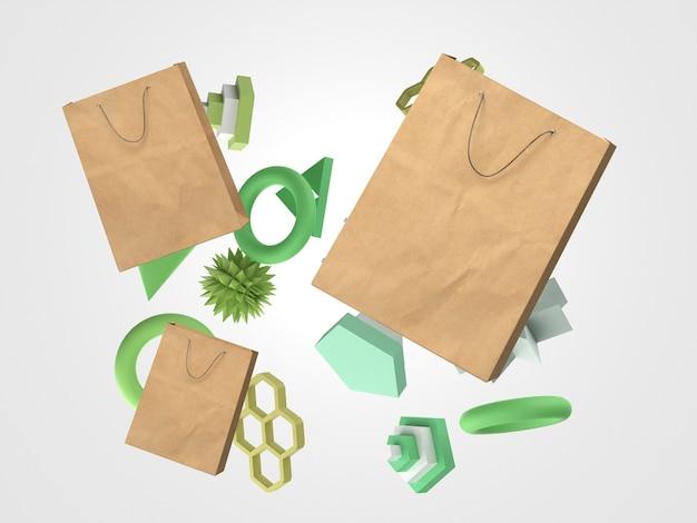 Beweging van 3d-papieren boodschappentassen