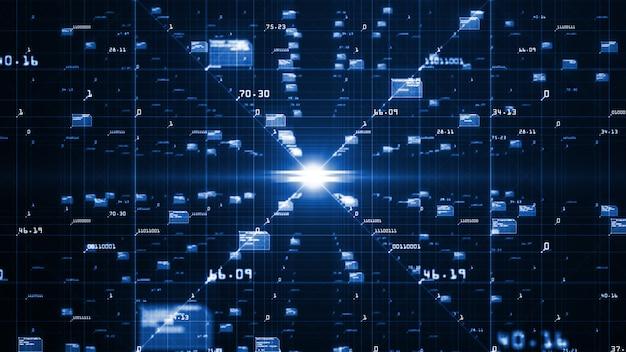 Beweging van digitale gegevensstroom.