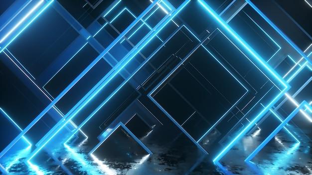 Beweging van glazen neonblokken. moderne ultraviolette verlichting. 3d-afbeelding
