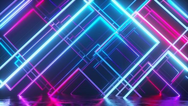 Beweging van glazen neonblokken. moderne ultraviolette verlichting. blauw paars lichtspectrum. 3d-afbeelding