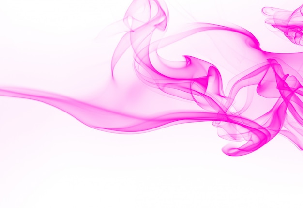 Beweging van roze rooksamenvatting op witte achtergrond