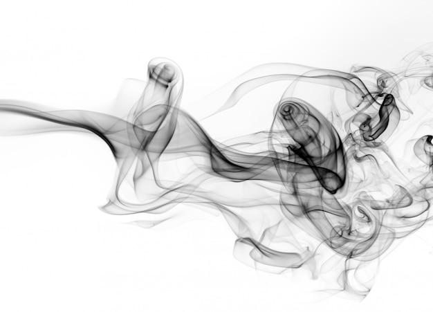 Beweging van zwarte rook op witte achtergrond, brandontwerp