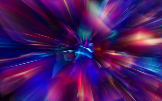 Bewegingsonscherpte door het universum, bewegend met de snelheid van het lichttunnelstelsel, hyper sprong abstracte kleur achtergrond