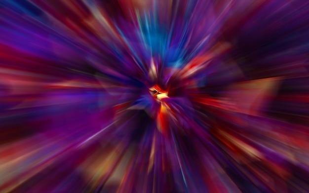 Bewegingsonscherpte door het universum, bewegend met de snelheid van het lichttunnelstelsel, hypersprong