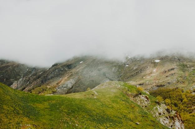 Bewolkt rotsachtig landschap met vegetatie