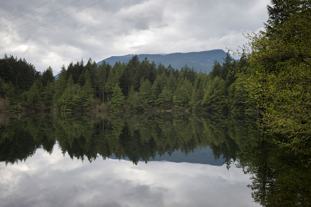 Bezinning van bomen in kalm meer tegen bewolkte hemel, west-vancouver, brits colombia, canada